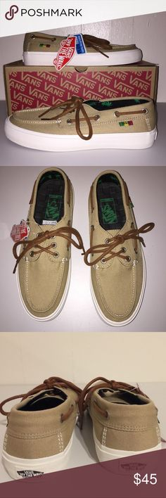 NWT Vans Men's Chauffeur SF Incense Rasta Shoes Classic nautical inspired silhouette in neutral color to match any outfit.  Removable and washable ultracush eco footbed. Vans Shoes Sneakers