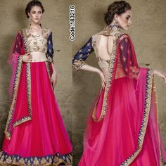 Look glamorous in this bright #pink #lehangacholi embellished with traditional #gottapatti!  For price details visit: http://www.indianweddingsaree.com/Product/183216.html  #Lehenga #Magenta #Blue #DesignerBlouse #FloralMotif #Volume #Layers #Embroidery #Designer #Occasion #IndianDresses #Partywears #Indian #Women #Bridalwear #Fashion #Fashionista #OnlineShopping