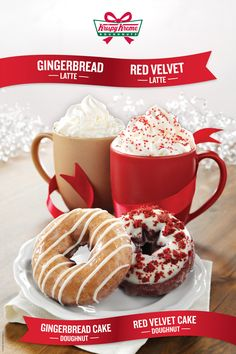 holiday cheer with our gingerbread and red velvet cake doughnuts and lattes i love all the seasonal foodsdrinks that come out during the christmas - Krispy Kreme Christmas Hours