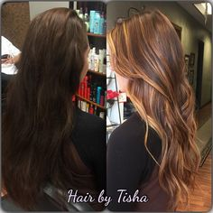 Balayage hair, I like this with the different browns and blonde