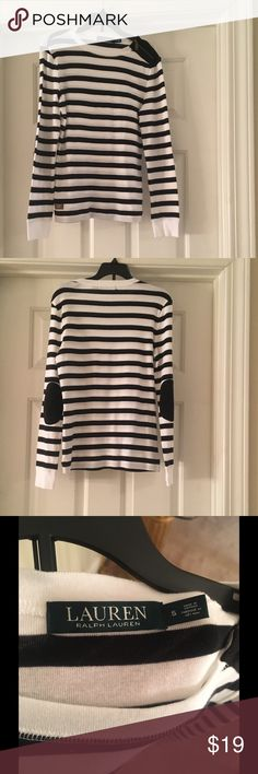 NWOT Ralph Lauren striped long sleeve top Brand new, just recently got, but the tags are detached. Black and white striped long sleeve cotton top by Ralph Lauren with suede elbows and a little zipper detail. Ear the shoulder. Fantastic condition and so cute with black jeans, just doesn't fit me.  Size small Lauren Ralph Lauren Tops Tees - Long Sleeve