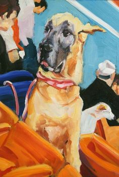 Great Dane Dog at the Baseball Game, I, painting by artist Nancy Spielman