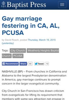 """BAPTISTS - """"Gay marriage 'festering'"""". .... Ugggg these awful people."""