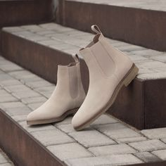 Beige Suede, Crepe Sole, Ortholite technology handmade Chelsea Boots from Spain. Beige Chelsea Boots, Chelsea Boots Outfit, Santorini, Mens Boots Fashion, Fashion Women, Fashionable Snow Boots, Formal Shoes, Casual Boots, Leather Boots