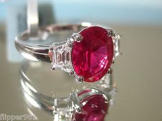 Ruby 925 Sterling Silver Cocktail Ring Size 7 or 8 1/2