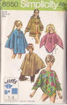 Simplicity 8850 Vintage Sewing Pattern MUST SEE Jiffy Mod Blanket Poncho, Nehru Collar Cape, Cloak and Hippie Jacket, Coat Made From Towels! Poncho Pattern Sewing, Cape Pattern, Jacket Pattern, Simplicity Sewing Patterns, Vintage Sewing Patterns, Sewing Ideas, Blanket Poncho, Poncho Coat, Vintage Outfits