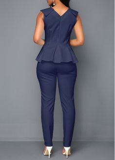 V Neck Peplum Waist Sleeveless Jumpsuit Workwear Fashion, Fashion Outfits, African Wear Dresses, Star Fashion, Womens Fashion, Classy Dress, Jumpsuits For Women, African Fashion, Peplum
