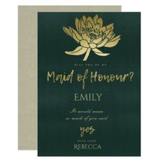 GLAMOROUS GOLD GREEN LOTUS FLORAL MAID OF HONOUR CARD - wedding invitations diy cyo special idea personalize card