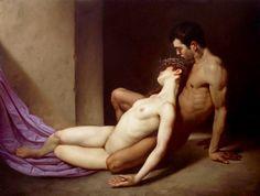 """life-imitates-art-far-more: """" Roberto Ferri (1978-) """"Il Sepolcro Degli Amanti"""" (""""The Lovers'Tomb"""") (2014) Oil on canvas Kitsch Movement """""""