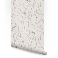 Branch Birds Blue Peel & Stick Fabric Wallpaper door AccentuWall