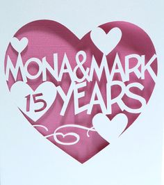 Year in Heart Papercut Anniversary Card by CookieBits on Etsy.