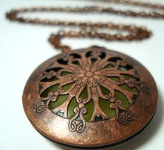 Solid Perfume Locket Copper Filigree Round by WillowTreeApothecary