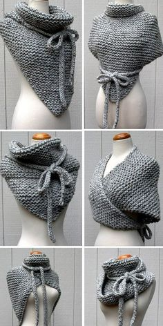 Knitting Pattern for Easy Garter Stitch Wrap - Versatile shawl knit with garter stitch and i-cord ties can be worn a variety of ways - as a cowl, vest, poncho, and more. Quick knit in bulky yarn. That's a Wrap designed by KnotOriginal. Loom Knitting, Knitting Stitches, Knitting Patterns Free, Free Knitting, Free Pattern, Crochet Patterns, Stitch Patterns, Simple Knitting, Vintage Knitting