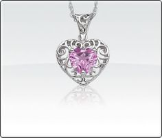 Created Pink Sapphire Heart Necklace - 18in