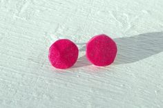 Pink Sparkle Earrings Round Studs Handmade From by FeathandKee