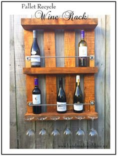 Recycled Pallet Wine Rack This was my first project! I am so excited with the way it turned out. I did not have any pallet separator tools, so I decided to create something unique with a complete pallet!