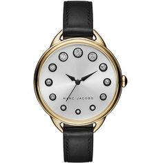 Marc Jacobs Betty Goldtone Stainless Steel & Leather Strap Watch (670 AED) ❤ liked on Polyvore featuring jewelry, watches, apparel & accessories, black, stainless steel jewelry, gold tone jewelry, bezel watches, stainless steel jewellery and stainless steel wrist watch