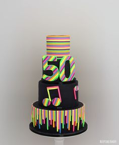 Bright Birthday Cakes, 40th Birthday Cakes, Beautiful Cakes, Amazing Cakes, Neon Sweet 16, Neon Cupcakes, Bolo Neon, Disco Cake, Disco Party Decorations