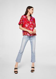 Flowy fabric Floral print Classic collar Short sleeve with turnover Button fastening on the front section Floral Print Shirt, Floral Prints, Mango Fashion, Latest Trends, Capri Pants, Fabric, Shirts, Clothes, Shopping