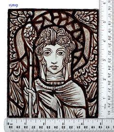 Stained Glass window Portrait, Female, hand painted, Celebrating Harry Clarke, Ref: 15n19. $55.00, via Etsy.