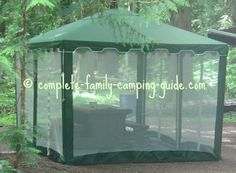 Screen Tent: A Dining Shelter, Shade Tent, Storage Tent and Insect Shield! Screen Tent, Screen House, Country Landscaping, Garden Landscaping, Screened Gazebo, Shade Tent, Camping Guide, Family Camping, Tent Storage