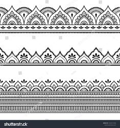 Set of seamless borders for design, application of henna, Mehndi and tattoo. Decorative pattern in ethnic oriental style. Set of seamless borders for design, application of henna, Mehndi and tattoo. Decorative pattern in ethnic oriental style. Henna Tattoo Designs, Henna Designs Drawing, Henna Tatoo, Henna Tattoo Muster, Henna Hand Designs, Henna Drawings, Bridal Henna Designs, Henna Mehndi, Designs Mehndi