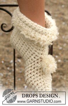 "Pantuflas DROPS en ganchillo / crochet en ""Eskimo"". ~ DROPS Design"