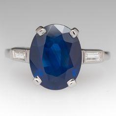 Vintage oval sapphire and diamond platinum ring