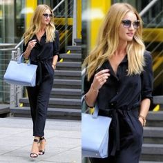 How to Chic: ROSIE HUNTINGTON WHITELEY IN A BLACK JUMPSUIT