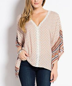 Ivory & Orange Abstract Lace-Trim Cape-Sleeve Top