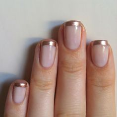 French Nail Art designs are minimal yet stylish Nail designs for short as well as long Nails. Here are the best french manicure ideas, which are gorgeous. Manicure Y Pedicure, Mani Pedi, Gold Manicure, Manicure Ideas, Nail Ideas, Gold Tip Nails, Pink French Manicure, French Manicure With A Twist, Copper Nails