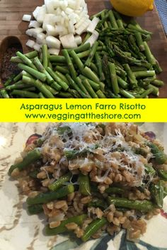 Asparagus Lemon Farro Risotto is a healthier and lighter version of traditional risotto.  Farro is high in magnesium and fiber making it a great substation in this healthy and delicious vegetarian dish!