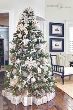 "Beach Christmas tree // ""An Elegant Christmas by the Seaside"" White Christmas Tree Decorations, Elegant Christmas Trees, Coastal Christmas Decor, Nautical Christmas, Christmas Tree Design, Beach Christmas Trees, Xmas Trees, Christmas Lights, Tropical Christmas"