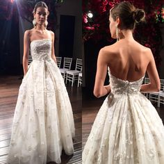 """""""Contemporary Elegance! Style """"Morelia"""" strapless embroidered organza ball gown featuring straight neckline and pleated skirt from Naeem Khan Fall 2016…"""""""