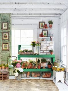 14 Ways to Perk Up Your Garden Shed How to make your backyard workspace pretty and practical. Shed Conversion Ideas, Garden Shed Interiors, Garden Tool Shed, Garden Sheds, Garden Fun, Easy Garden, Garden Gates, Herb Garden, Shed Decor