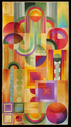 """Technicolor Deco"" by Shirley Gisi, Colorado, USA Winner of the category 'Abstract Small'.  2015 Houston International Quilt Festival."