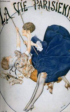 Hérouard, Chéri Women on Swing- 'La Vie Parisienne'- June, 1918 Art Deco Illustration, Magazine Illustration, Art Lesbien, Vintage Posters, Vintage Art, French Posters, Lesbian Art, Poster Ads, Magazine Art