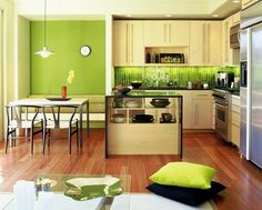 Have fun with kitchen color schemes with the perfect color palette. Here are several ideas of modern kitchen color schemes that homeowners can choose. Lime Green Kitchen, Green Kitchen Designs, Green Kitchen Walls, Kitchen Wall Colors, Red Kitchen, Modern Kitchen Design, Home Decor Kitchen, Kitchen Furniture, Home Kitchens