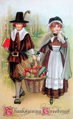 Me thinks these pilgrims had a wee crush on each other (just look at their expressions!). #Thanksgiving #card #vintage