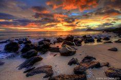 Tracks Beach Sunset, Oahu. In HDR