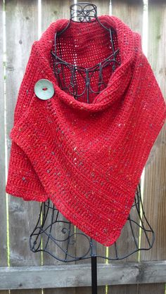 Buttoned Red Wrap by redbootyarnworks on Etsy, $45.00