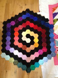 Rainbow spiral hexies