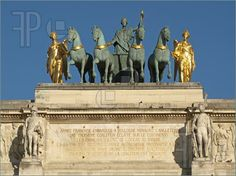 Tuileries gardens clip art   Image of Group of statues at the top of the Louvre Carrousel Triumph ...
