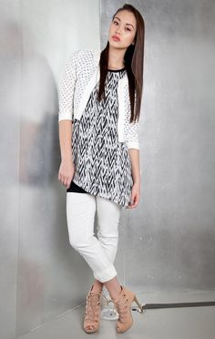 Printed Fly Away Top with Slits