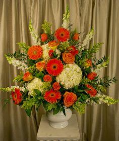 Twinbrook Floral Design Orange Wedding Arrangements, Large Floral Arrangements, Funeral Arrangements, Altar Flowers, Church Flowers, Funeral Flowers, Wedding Flowers, Funeral Tributes, Sympathy Flowers