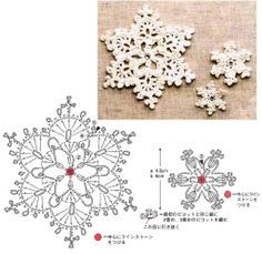 I love snowflakes. I love to crochet them and to decorate with them. We use them as Christmas tree ornaments and on hanging wreath. Every year I'm asked to share crochet snowflakes diagrams& Crochet Snowflake Pattern, Crochet Stars, Crochet Snowflakes, Crochet Motifs, Crochet Diagram, Crochet Doilies, Crochet Flowers, Crochet Stitches, Crochet Patterns