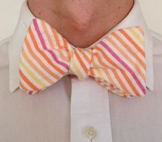 Handmade Bowtie  Fruit Stripe Seersucker by toddsties on Etsy