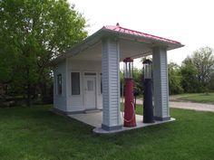 Vintage gas station restoration at the Red Oak complex in Missouri.