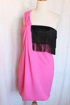 Pinko Wedding Robe À Franges Neuve Valeur 275 € Rose Noir Taille 38 40    eBay b0108f8d492