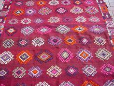 "VINTAGE Turkish Blackgoats Cicim Kilim Rug Carpet, Handwoven Kilim Rug, Antique Kilim Rug,Decorative Kilim, Natural Wool 66"" X 109''"